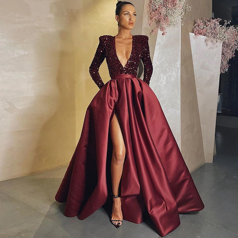Elegant Satin Evening Dresses Long Sparkle Sequined Sexy Deep V Neck Side Slit Formal Prom Gown Simple Ruched Robe de soiree 1