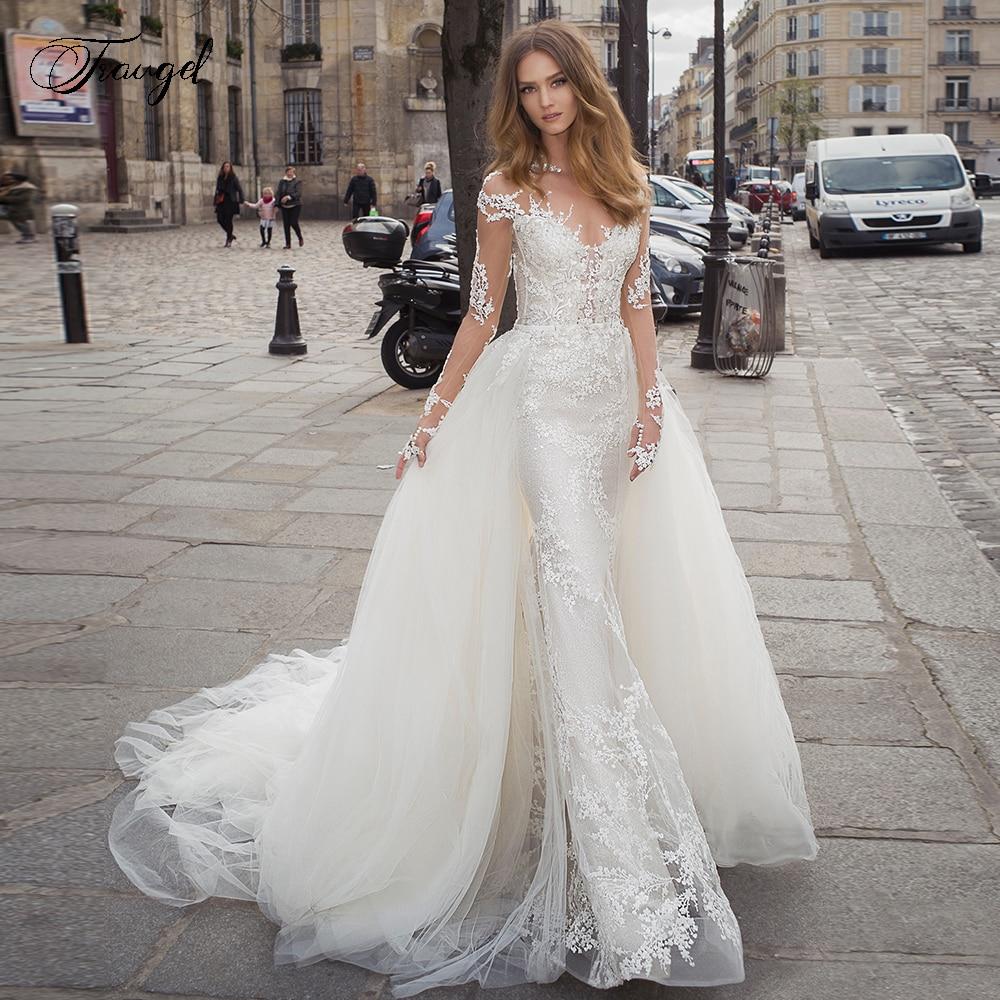 Traugel Scoop Mermaid 2 IN 1 Wedding Dresses Applique Long  Sleeve Lace Bride Dress Detachable Court Train Bridal Gown Plus SizeWedding Dresses   -
