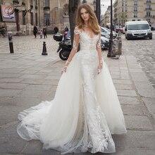 Traugel Scoop Mermaid 2 w 1 suknie ślubne aplikacja z długim rękawem koronkowa suknia dla panny młodej odpinany sąd pociąg suknia ślubna Plus rozmiar