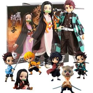 Image 2 - Anime iblis avcısı figürü Kimetsu hiçbir Yaiba aksiyon figürleri Tanjirou Figur Nezuko PVC Model oyuncak Agatsuma Zenitsu Inosuke bebek hediye
