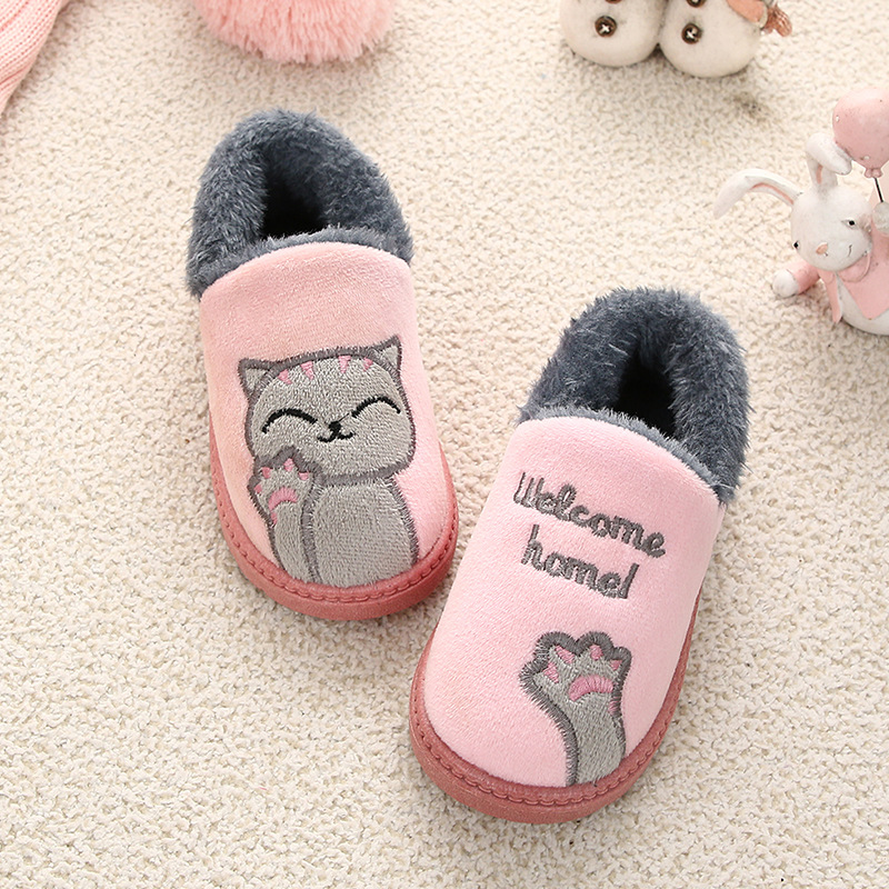 Winter Kids Slippers Children Flip Flops Home Baby Girl Clothes Slippers Boys Indoor Cotton Cartoon Cats Slippers Room Skid Warm