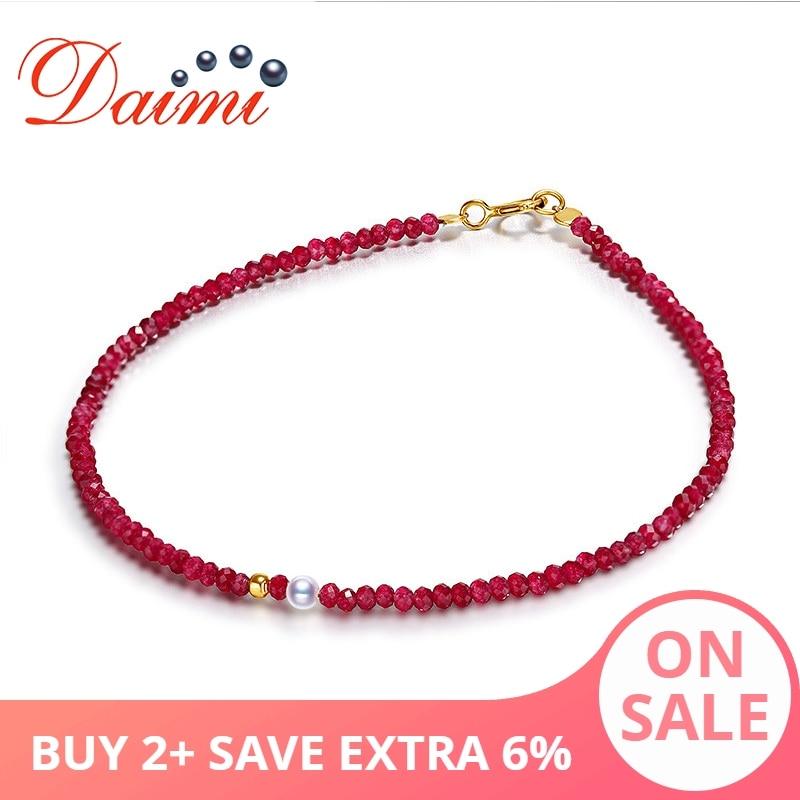 DAIMI exquisita pulsera de rubí Femenina 2 3mm Akoya perla 18K pulsera de oro regalo de joyería para W-in Pulseras y brazaletes from Joyería y accesorios    1