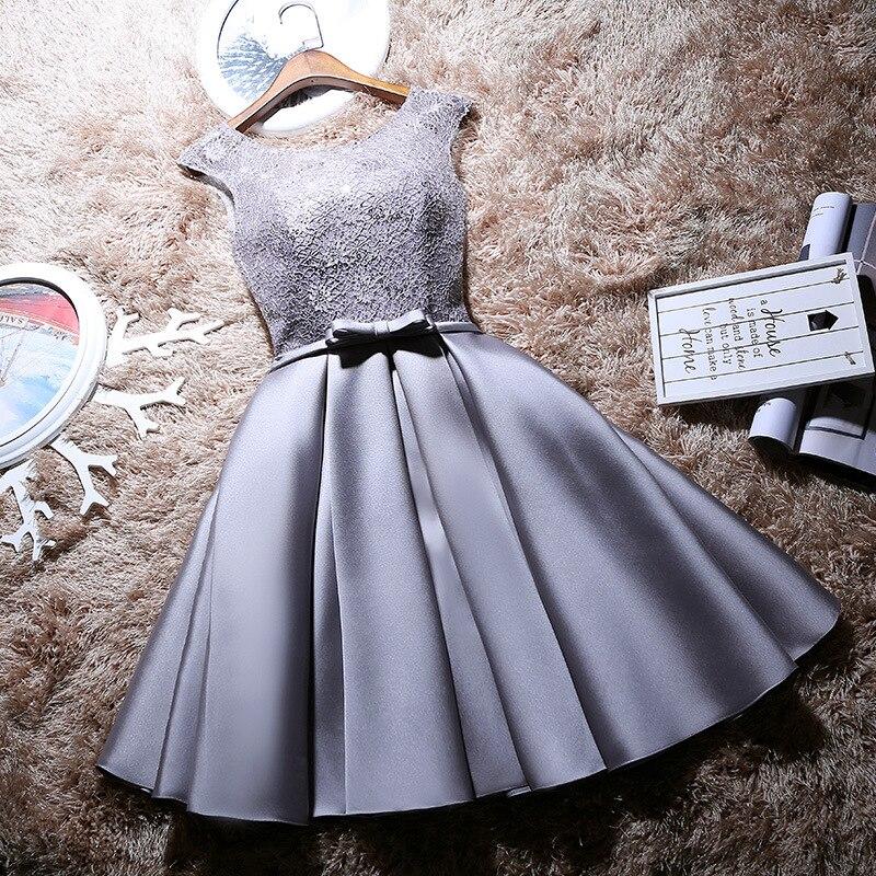 Evening dress 2020 new fashion slim new bridesmaid dress short banquet dress illusion o-neck with sashes  Robe De Soiree vestido