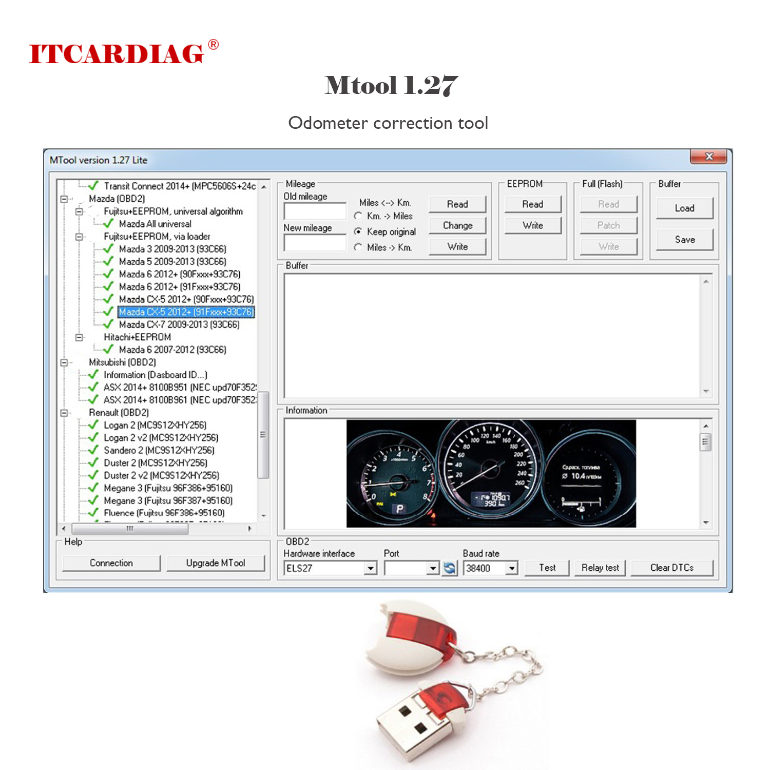 Odometer Correction Software MTool Lite 1.27 Version Mileage Programmer Work To Adjust The Mileage Change Of Cars