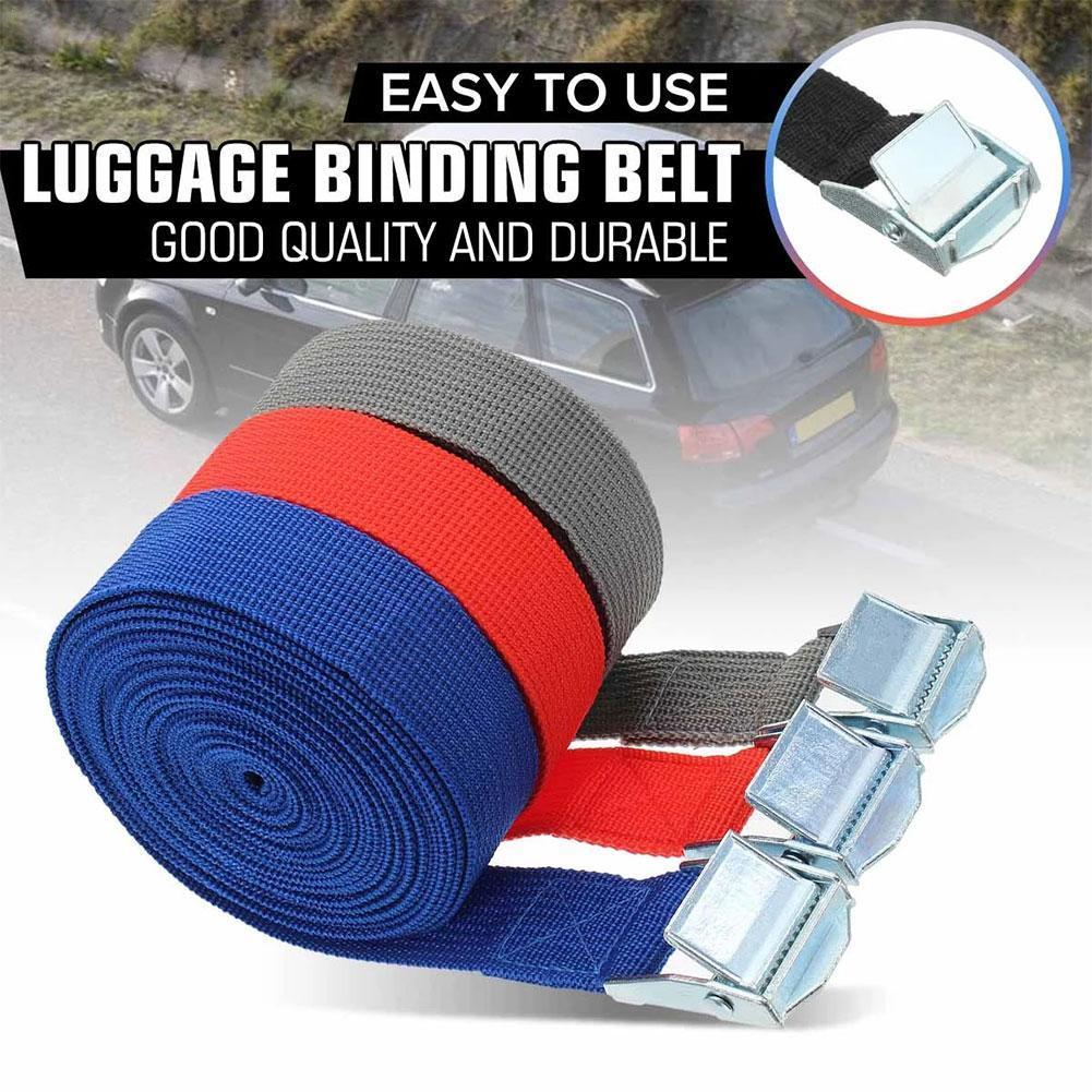 Car Tension Rope Tie Down Strap Strong Ratchet Belt Lashing With Bag Metal Tow Cargo Buckle Luggage Tensioner Rope K7A8