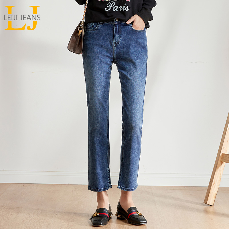 LEIJIJEANS 2019 Autumn 5XL Large Size Women's Jeans In The Waist Loose Washing Straight Jeans Classic Casual Ladies Jeans 9210