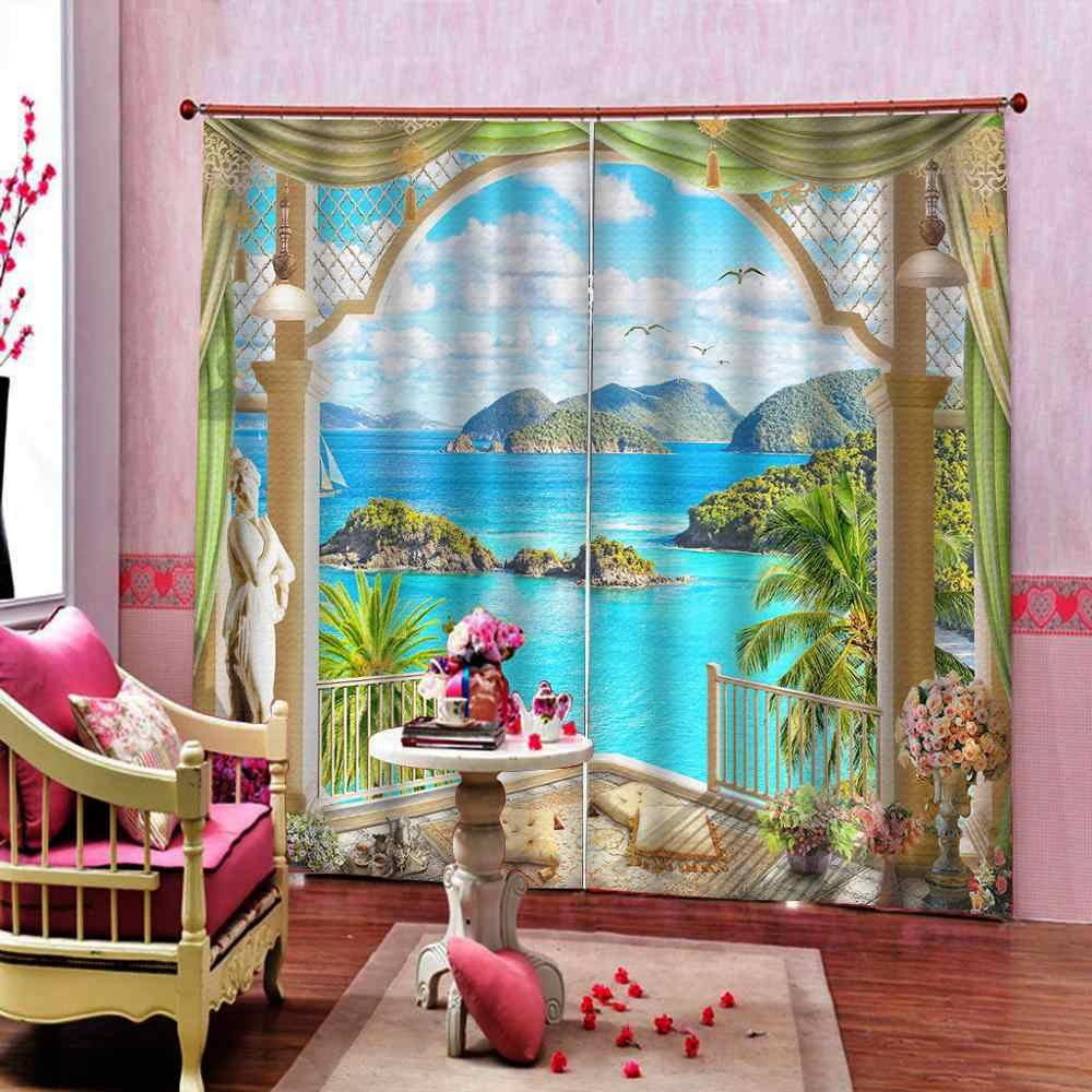 現代のウィンドウ風景 3D 窓カーテン椰子風景カーテン停電家庭ドレープ