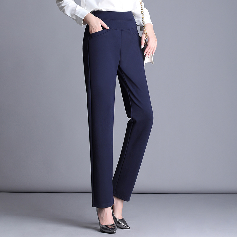 Autumn Black Suit Pants Woman Elastic High Waisted Pants Stretch Office Lady Blue Plus Size <font><b>4XL</b></font> Straight Pants <font><b>Pantalon</b></font> <font><b>Mujer</b></font> image