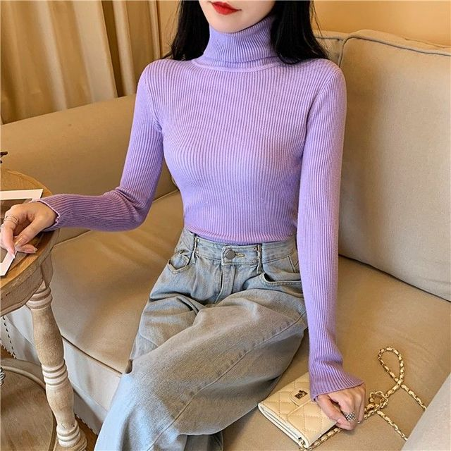 Women's Sweaters Autumn Winter Turtleneck Long Sleeve Casual Knitted Jumper Fashion Slim Elasticity Pullover Sweater Female 2021 2