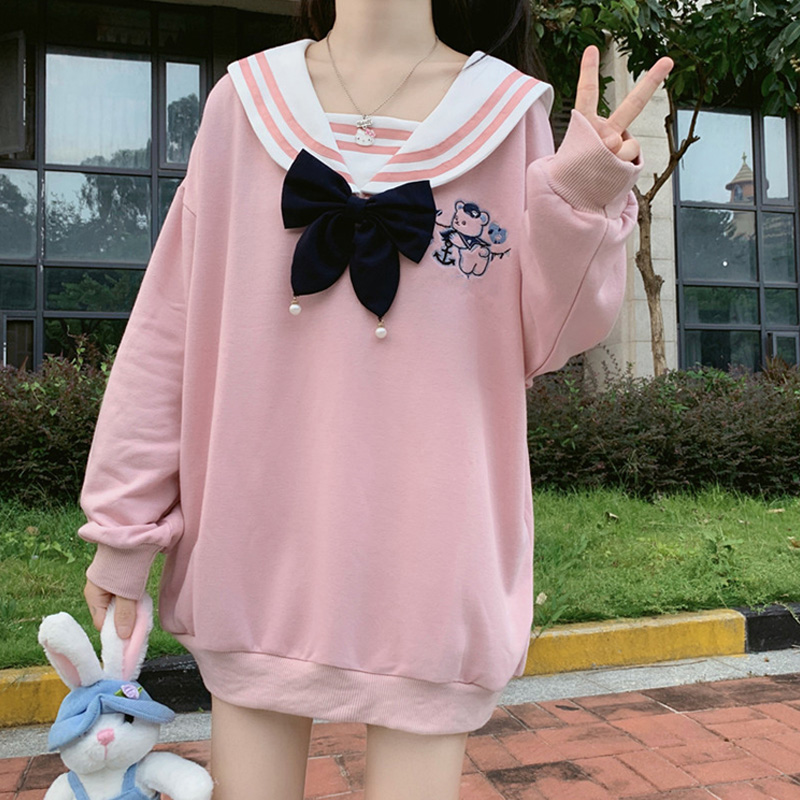 Japanese Sweatshirt Hoodie Soft Girl New Autumn Kawaii Bear Embroidery Sweatshirts Harajuku Cute Sweet Bow Pullover Sweatshirt