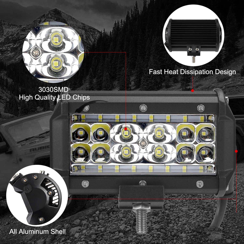 """5 """"barra de luz led 12 v 24 v condução worklight farol do carro para caminhão offroad auto 4wd 4x4 uaz rampa da motocicleta ponto inundação combo feixe"""