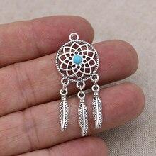 10 pçs tibetano prata chapeado diy sonho apanhador pingentes para pulseira jóias fazendo acessórios artesanal artesanato