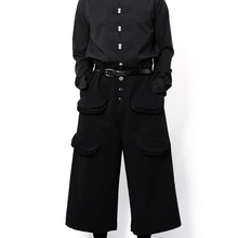 Yamamoto style men's casual pants wide leg trousers skirt pants bell bottoms multi-pocket dark black loose and simple