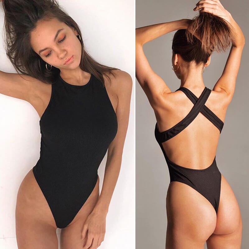 INGOO Back Cross Knit Bodycon Women Bodysuit O Neck Summer Spring Clothes Ribbed Black White Blackless Slim Sexy Body Tops