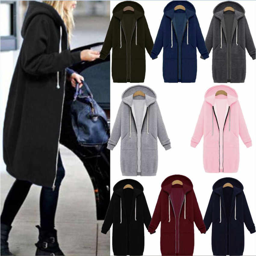 Laamei 2019 Autumn Winter Casual Women Long Hoodies Sweatshirt Coat Zip Up Outerwear Hooded Jacket Plus Size Outwear Tops