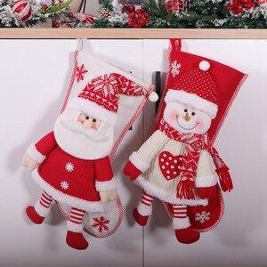 2 шт рождественские чулки, рождественские носки над камином Конфеты Подарочная сумка Рождественская елка висячие украшения