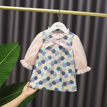 Платье детское ТРАПЕЦИЕВИДНОЕ Сетчатое с длинным рукавом и бантом