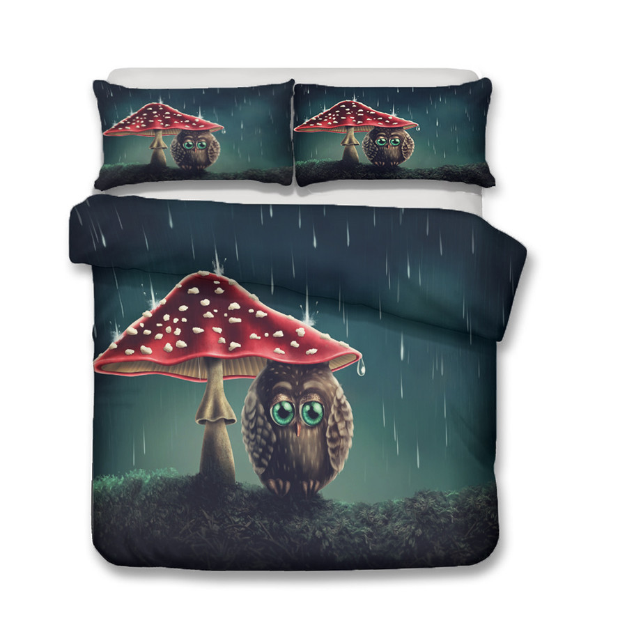 A Bedding Set 3D Printed Duvet Cover Bed Set Owl Home Textiles for Adults Bedclothes with Pillowcase MTY06 in Bedding Sets from Home Garden