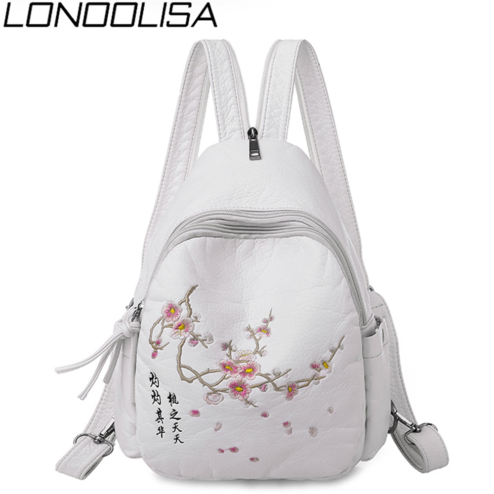 Winter Embroidery Women Backpack Female Fashion 3 In 1 Backpack Quality Washed Leather Ladies Chest Bag Travel Back Pack Bagpack