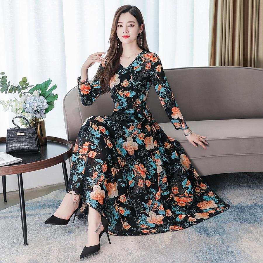 2019 Vintage 3XL Plus Size Floral Chiffon Beach Midi Dresses Autumn Winter Long Sleeve Maxi Dress Women Elegant Party Vestidos 3