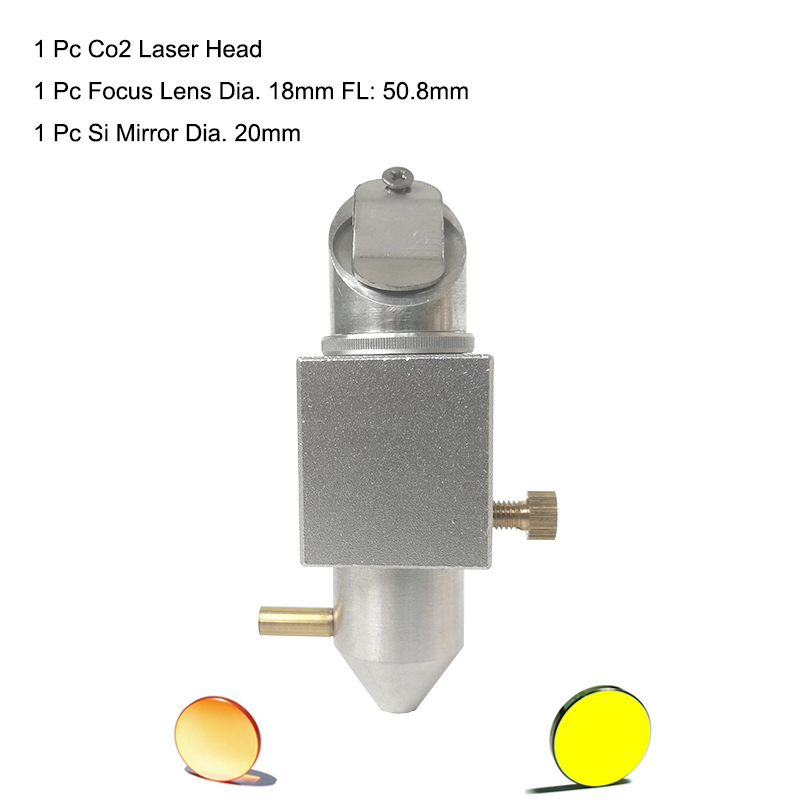 CO2 Laser Integrative Mount Holder 18mm Focus Znse Lens And 20mm Si Mirrors Laser Head Set For 2030 4060 K40 Co2 Laser Machine