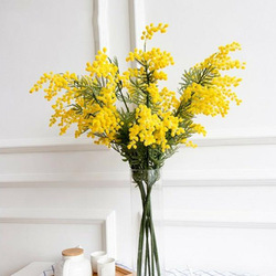 50pcs 57cm Fake Yellow Flower Branch Artificial Plant Mimosa Plastic Leaves Small Pompon Stamen For Dining Table Bedroom Decor