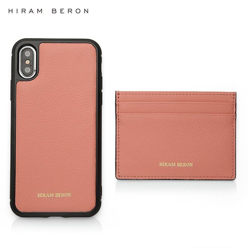 Titular do Cartão e para Iphone Hiram Beron Personalizado Rosa Carteira Feminina Couro Genuíno Case xs Max Dropship