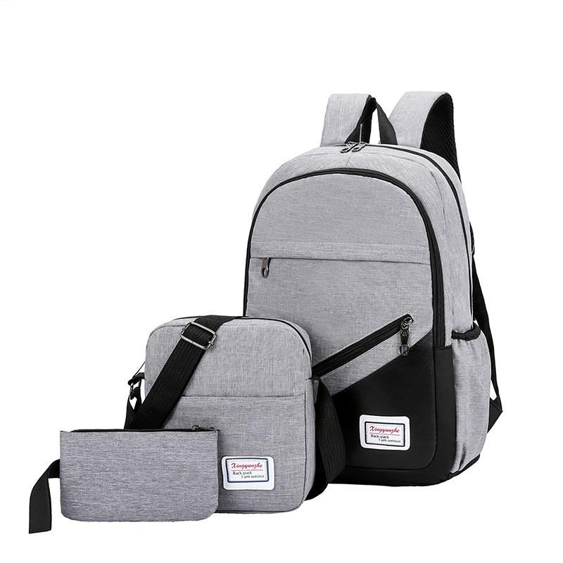 USB Charging Canvas Backpack 3 Pcs/set Women School Backpacks Schoolbag For Teenagers Man Student Book Bag Boys Satchel
