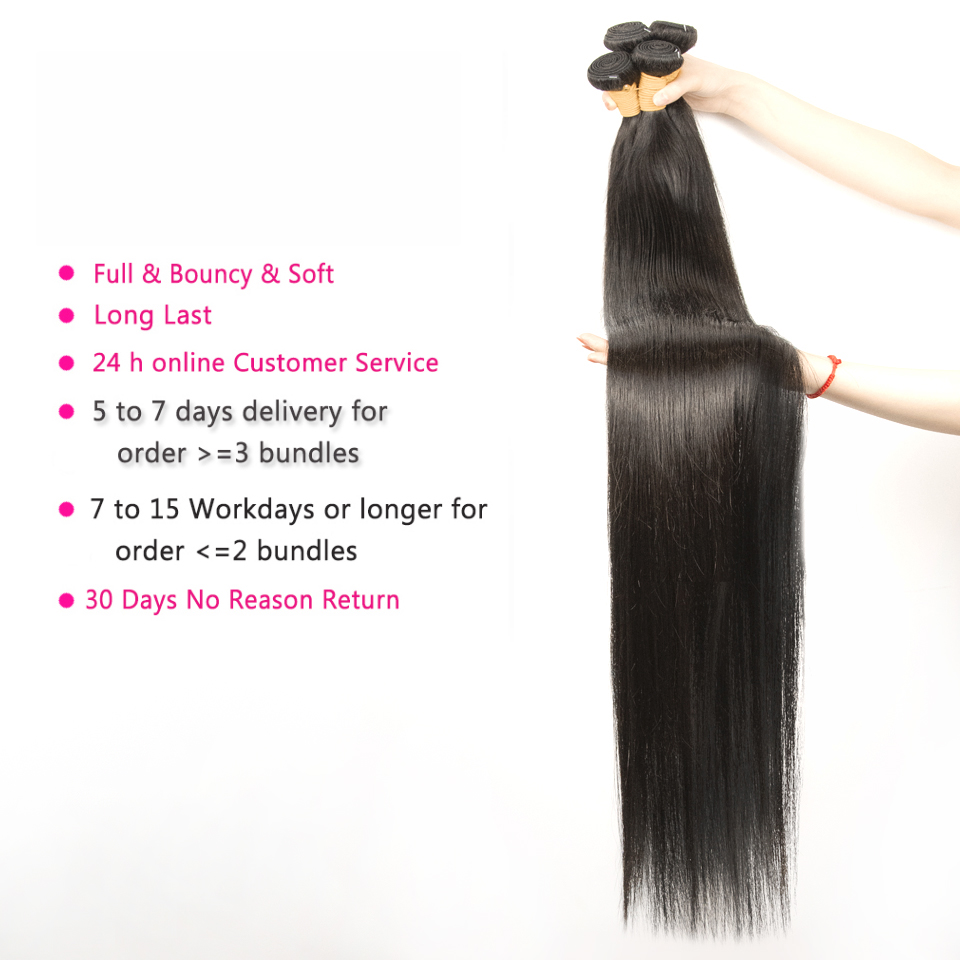 Fashow 30 32 34 36 40 inch Indian Hair Straight Hair Bundles 100% Natural  Bundles Double Wefts  Hair s 3