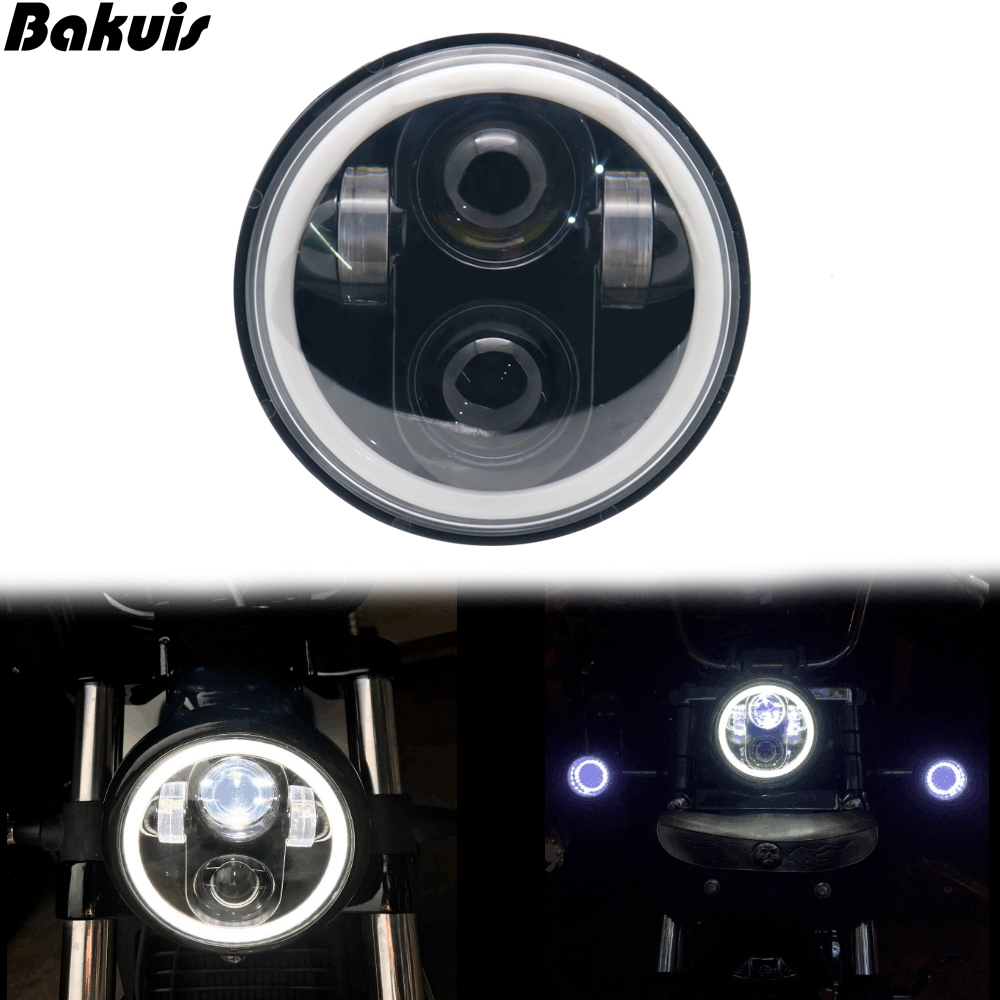 5-3/4 5.75 Inch Projector LED With Halo Driving Light Motorcycles Headlight For Street Bob Nightster Night Rod Headlamp