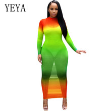 YEYA High Quality Women Sheer Mesh Maxi Dress Vestidos Sexy Long Sleeve See Through Club Party Dresses Femme Hollow Out Mujer