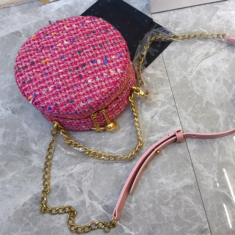 2019 Fashion Ronde Tas Vrouwen Circular Bag Vrouwelijke Schouder Crossbody Tas met Ketting Bell Sterren Geweven Handtas Vrouw Party Purse - 4