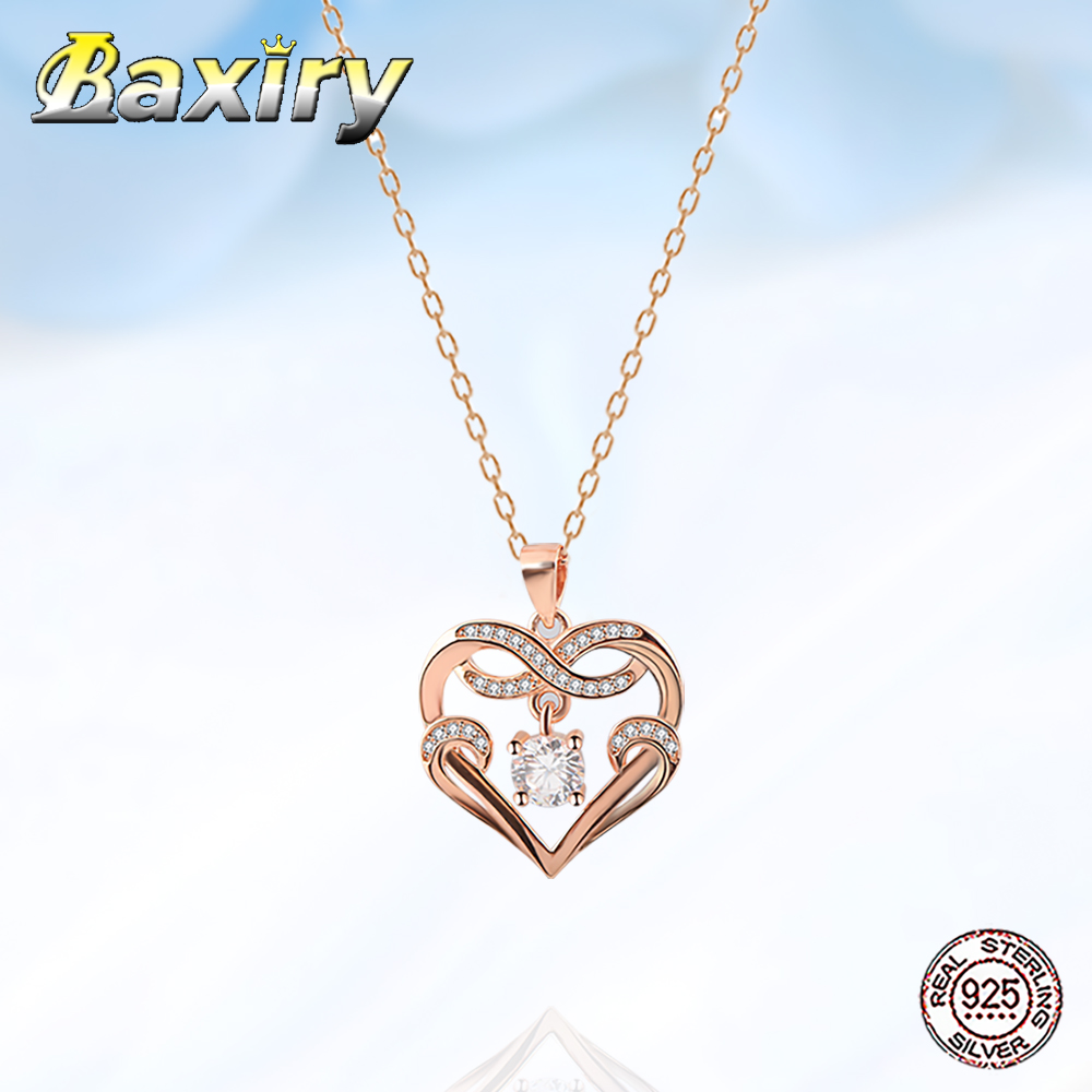 Luxury New 925 Sterling Silver Heart Necklace Chain Necklace For Women 2020 Neck Chains Pendant Women's Accessories Jewelry