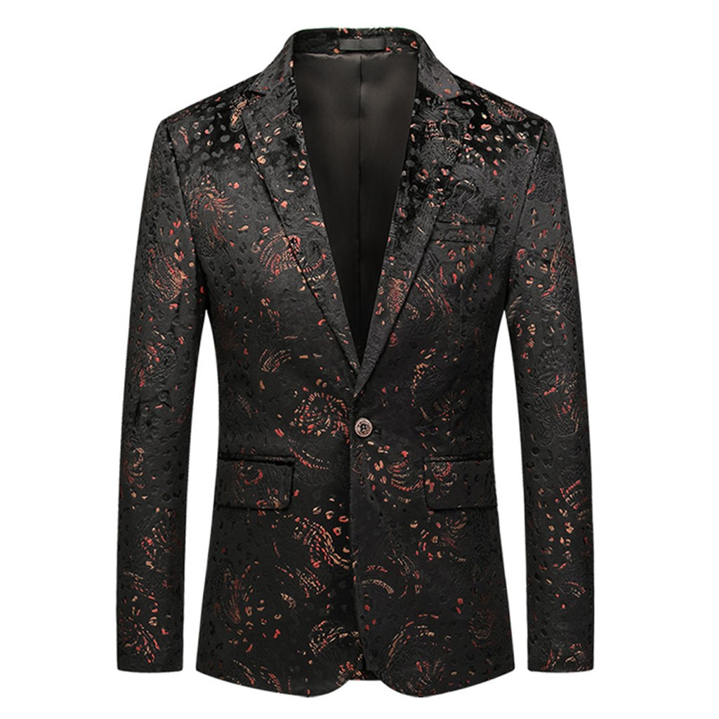 Men's Casual Business Wedding Long Sleeve Print Floral Suit Coat Jacket Veste Costume Homme Dropshiping W902