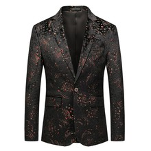 Mens Casual Business Wedding Long Sleeve Print Floral Suit Coat Jacket veste costume homme dropshiping W902