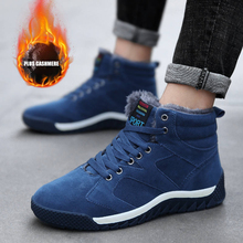 Winter Men Shoes Outdoor Warm plush Sneakers Leather Big Size Hiking 39-47 Male Snow Boots Climbing Trekking For