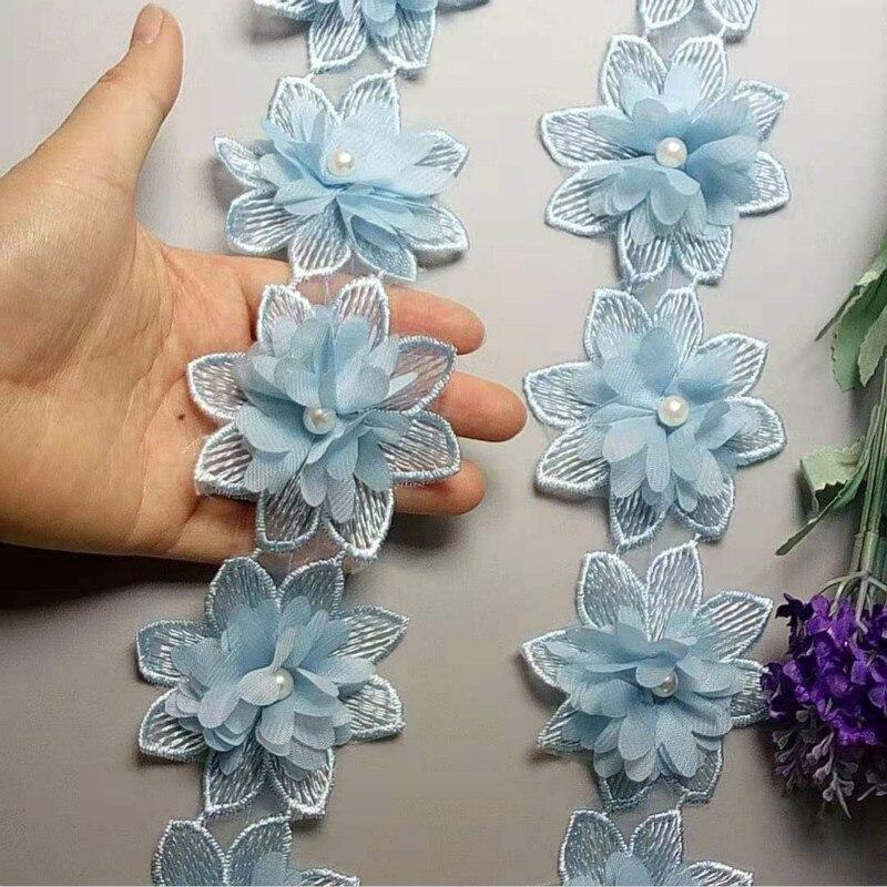 10X Небесно-Голубой растворимый с цветами роз и жемчугом шифон Вышитые Кружева отделка Лента ткань шитье ремесло лоскутное украшение ручной работы