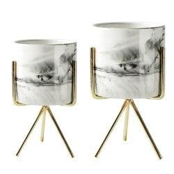 2 sztuk Nordic domu minimalistycznym stylu marmuru wazon z kutego żelaza Tabletop soczyste kwiat garnek złota + biały ceramiczny  S & M w Tace do garnków od Dom i ogród na