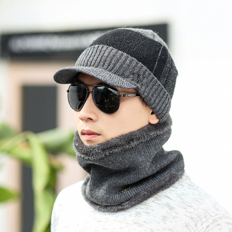 Newly 2019 Fashion Winter Warm Cap With Knitted Scarves Multi-Piece Set Men Simple Design Fleece Lined Caps Scarf