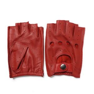 Image 5 - הגעה חדשה אביב גברים של עור אמיתי כפפות נהיגה קמטים 100% נאד חצי אצבע כפפות ללא אצבעות כושר כושר כפפות