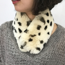 Japanese Candy girl  leopard printed rabbit fur collar , cute little hairy scarf in genuine SS