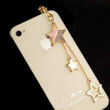 Plug-Caps Cell-Phone-Accessories iPhone Anti-Dust-Plug Dustproof Samsung for Chain Star-Pendant