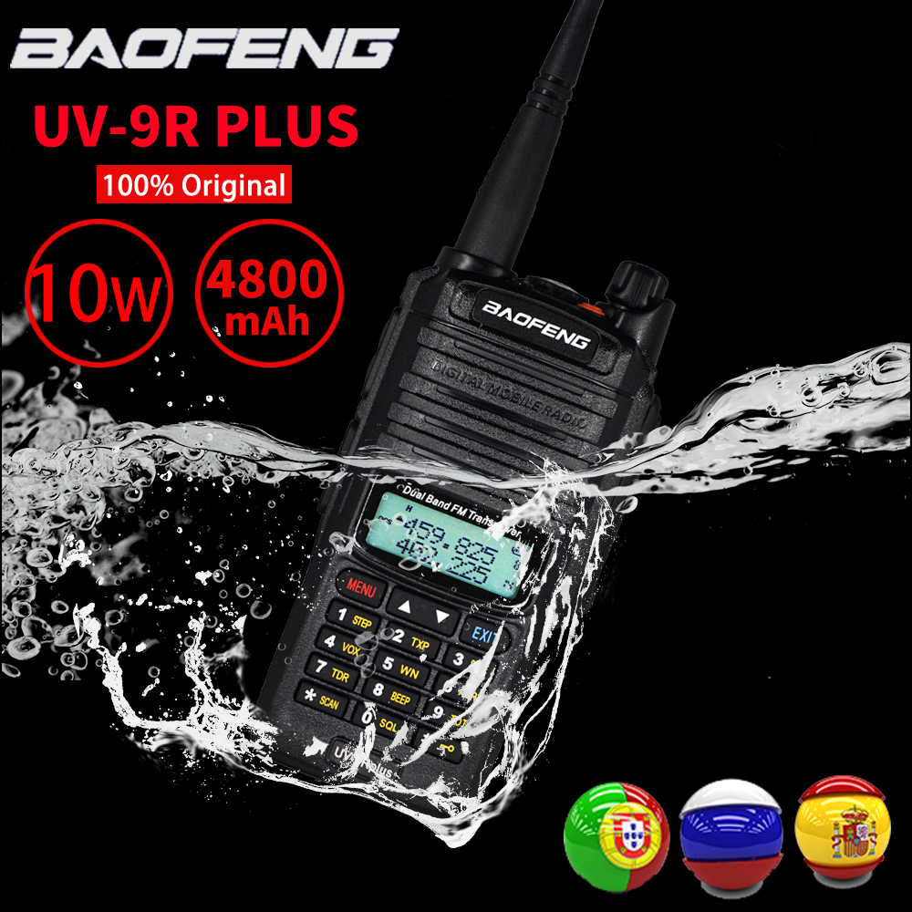 Sale! High Power 10W Baofeng UV-9R Plus Walkie Talkie IP67 Waterproof Dual Band FM HF Transceiver 10kM Ham Radio Transmitter