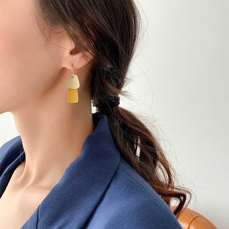 Pendientes de declaración para mujer, pendientes simples de gota de Oro Negro, Rojo geométrico, azul, amarillo, Pendientes colgantes 2020, joyería de boda