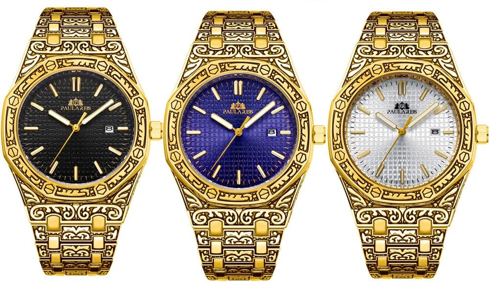 H0e6d13e27dc040779a5f0ab45a0fe59fZ Men Carved Antique Vintage Luminous Rose Gold Yellow Gold Silver 2 Tones Fashion Blue Classic Quartz luxury watch