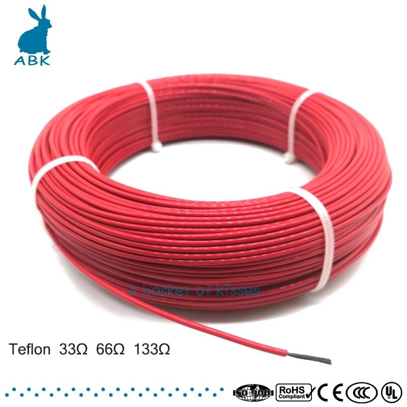 100 mètres 33ohm 66ohm 133ohm téflon PTFE câble chauffant en fibre de carbone câble chauffant infrarouge de haute qualité et à faible coût