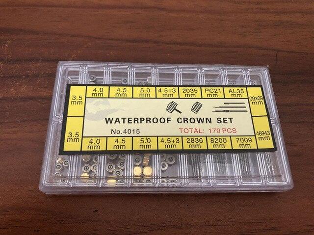 Assortiment Van 170 Stuks Rvs Waterdichte Crown Set En Horloge Steel Set Voor Horloge Reparatie