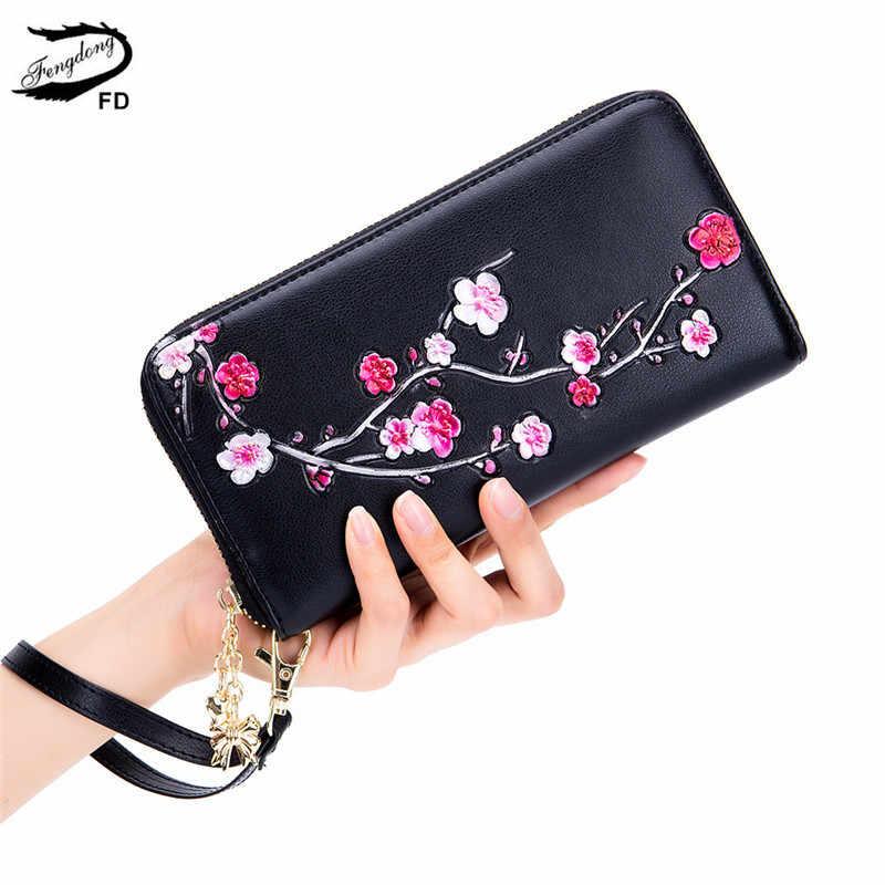 Fengdong carteras para mujer y monederos inteligente anti rfid Cartera de muñeca larga de cuero monedero para niñas teléfono billetera vintage flor tarjetero