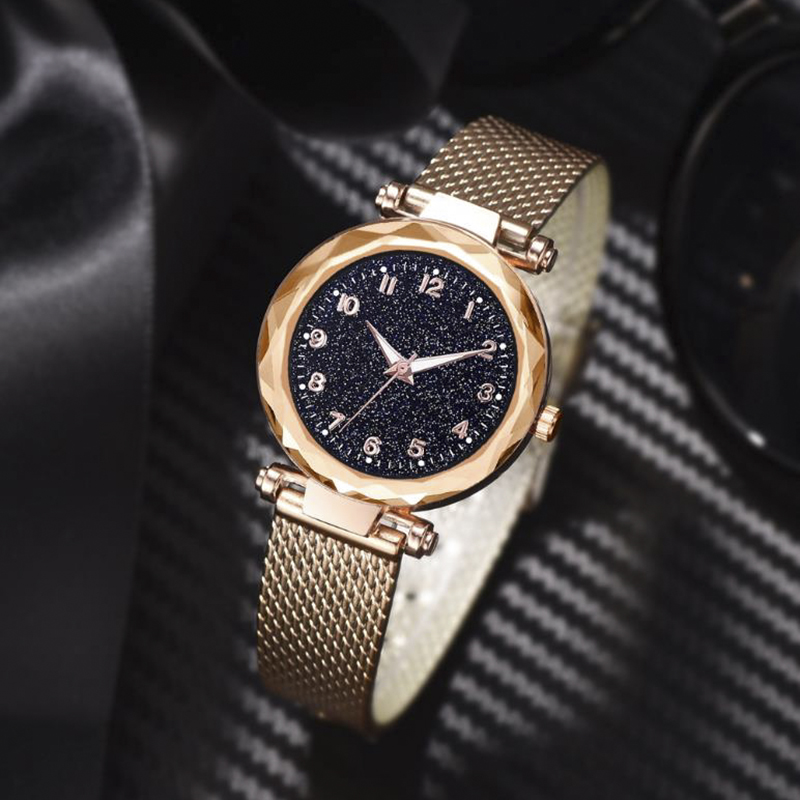 Luminous Starry Sky Montre Femme Women Watches Luxury Ore Glass Magnet Alloy Ladies Watch Roman Clock Quartz Watch Reloj Mujer
