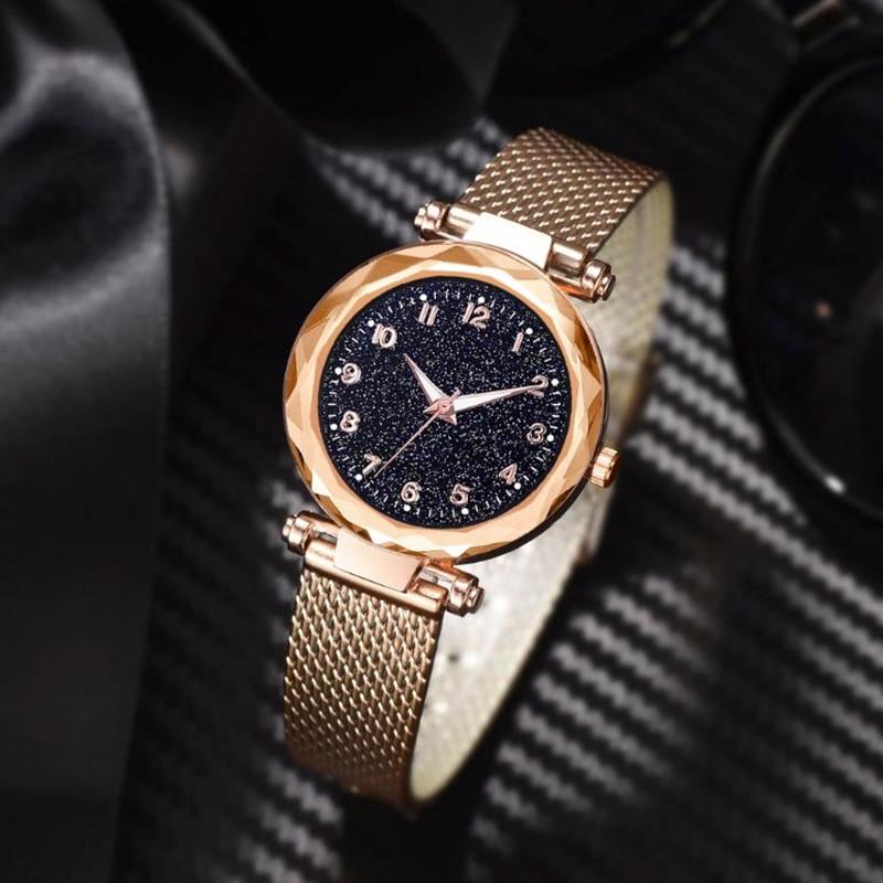Luminous Starry Sky Montre Femme Women Watches Luxury Ore Glass Magnet Alloy Ladies Watch Roman Clock Quartz Watch Reloj Mujer